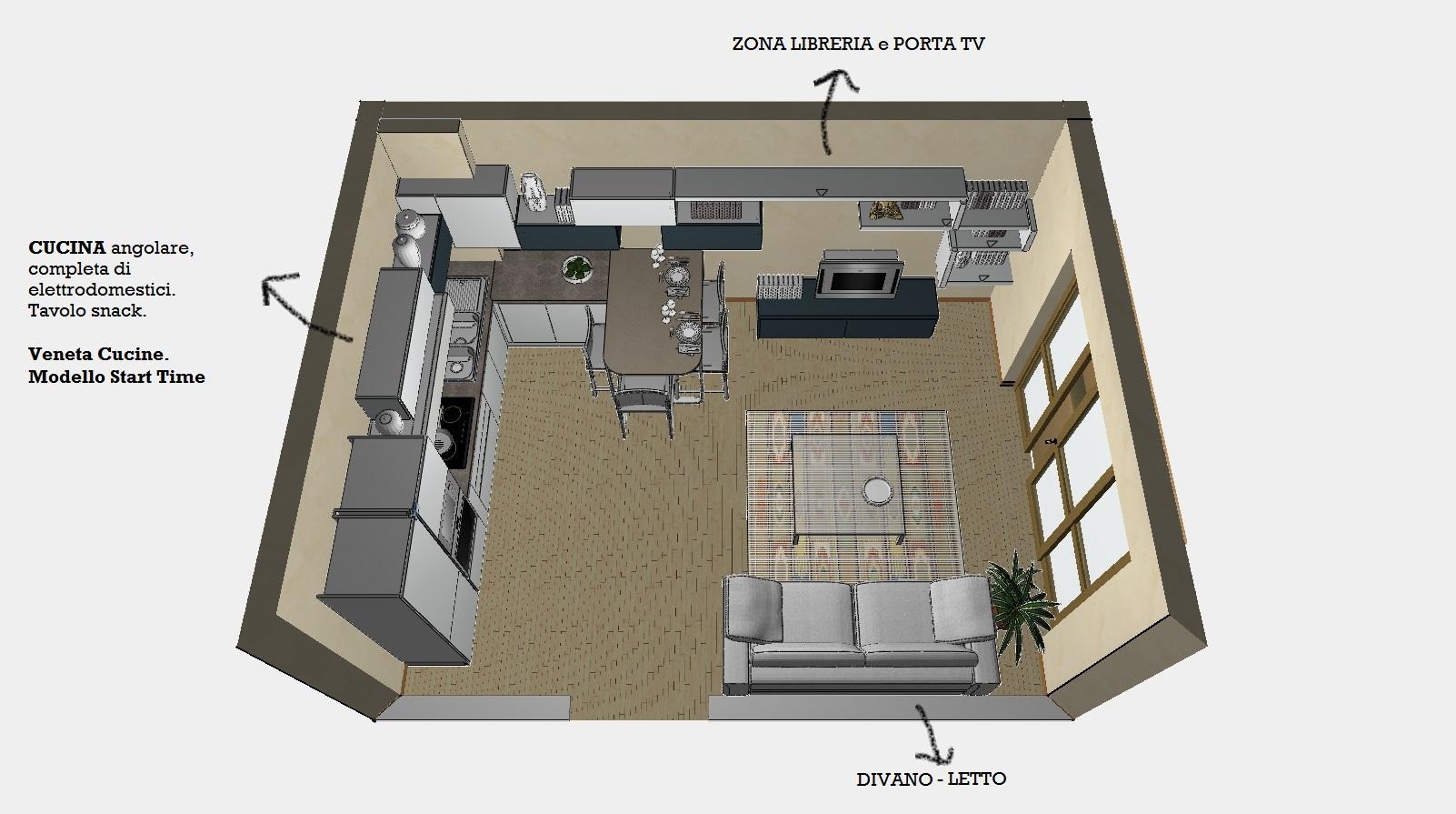 vista dall'alto ambiente unico cucina e zona living