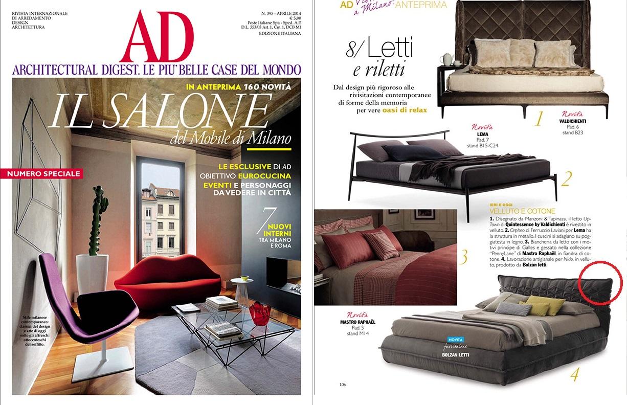 I nuovi letti di bolzan letti fotografati sulle riviste d for Migliori riviste arredamento