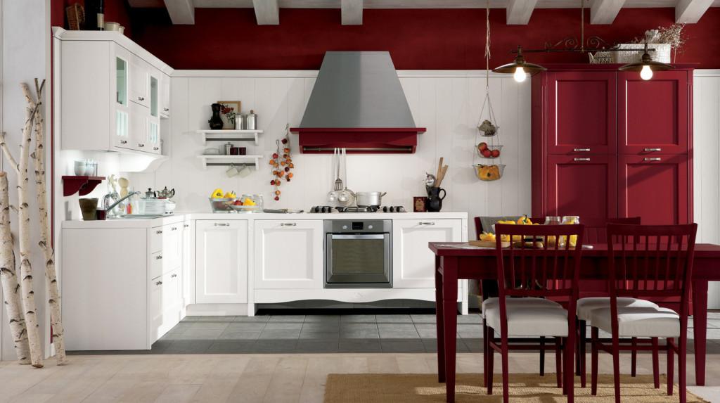 Sedia Gretha rosso tulipano; cucina Gretha, Veneta Cucine.