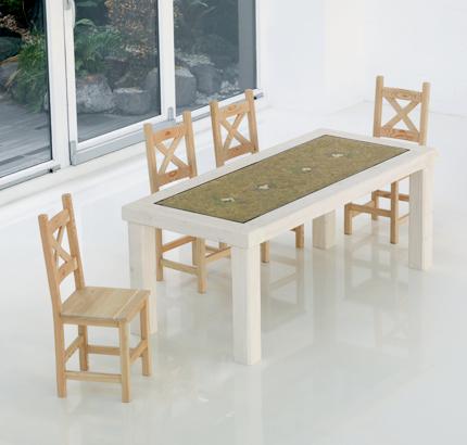 tavolo mottolino abete naturale fieno e fiori secchi