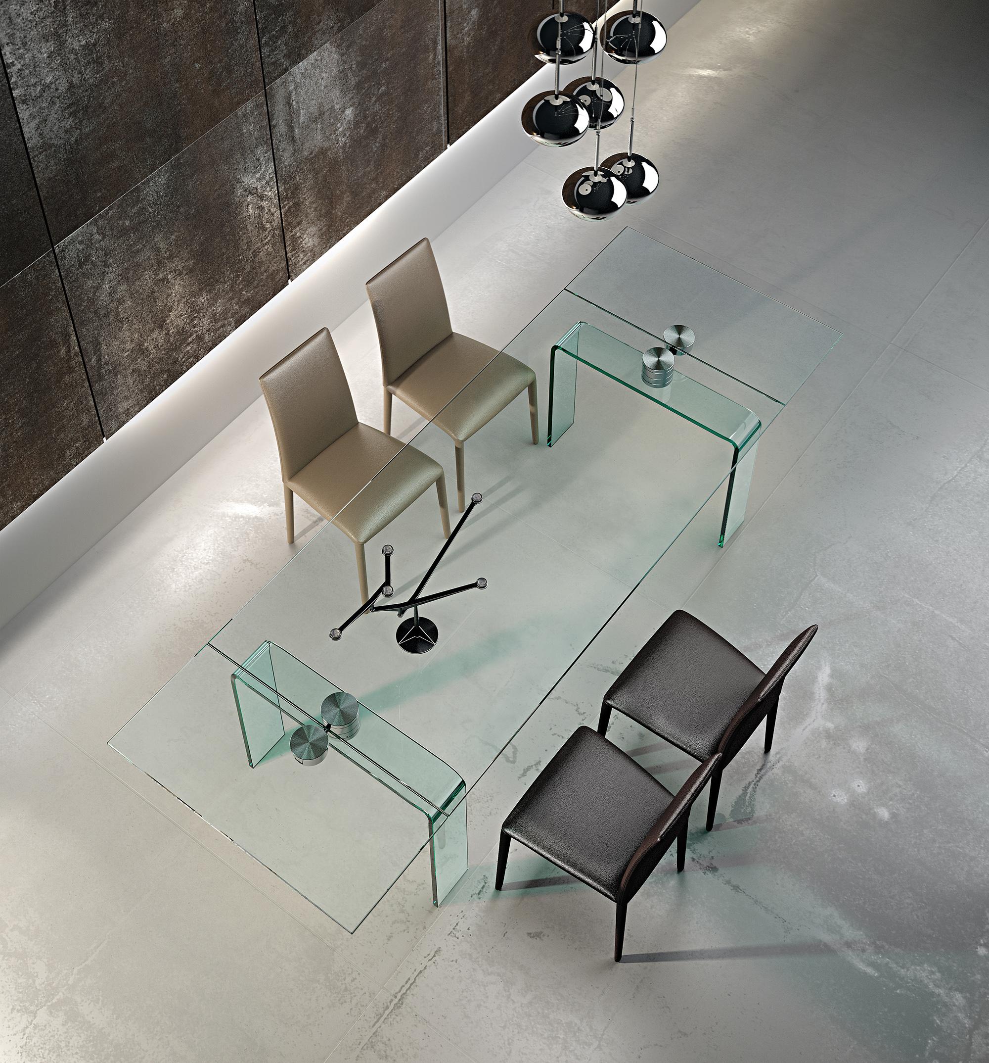 Tavolo moderno in vetro legno marmo mobili e arredi for Tavoli in legno e acciaio