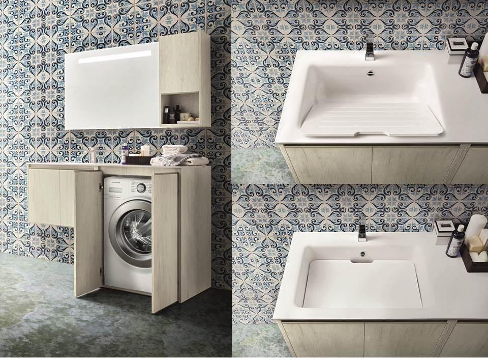Bagno e angolo lavanderia. Mobile copri lavatrice. Lavandino trasformabile in lavatoio