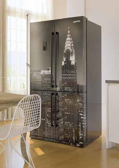frigorifero smeg doppia porta new york bianco e nero