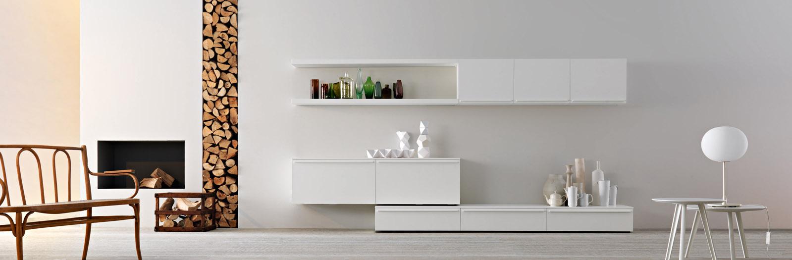 soggiorno moderno attrezzato bianco opaco