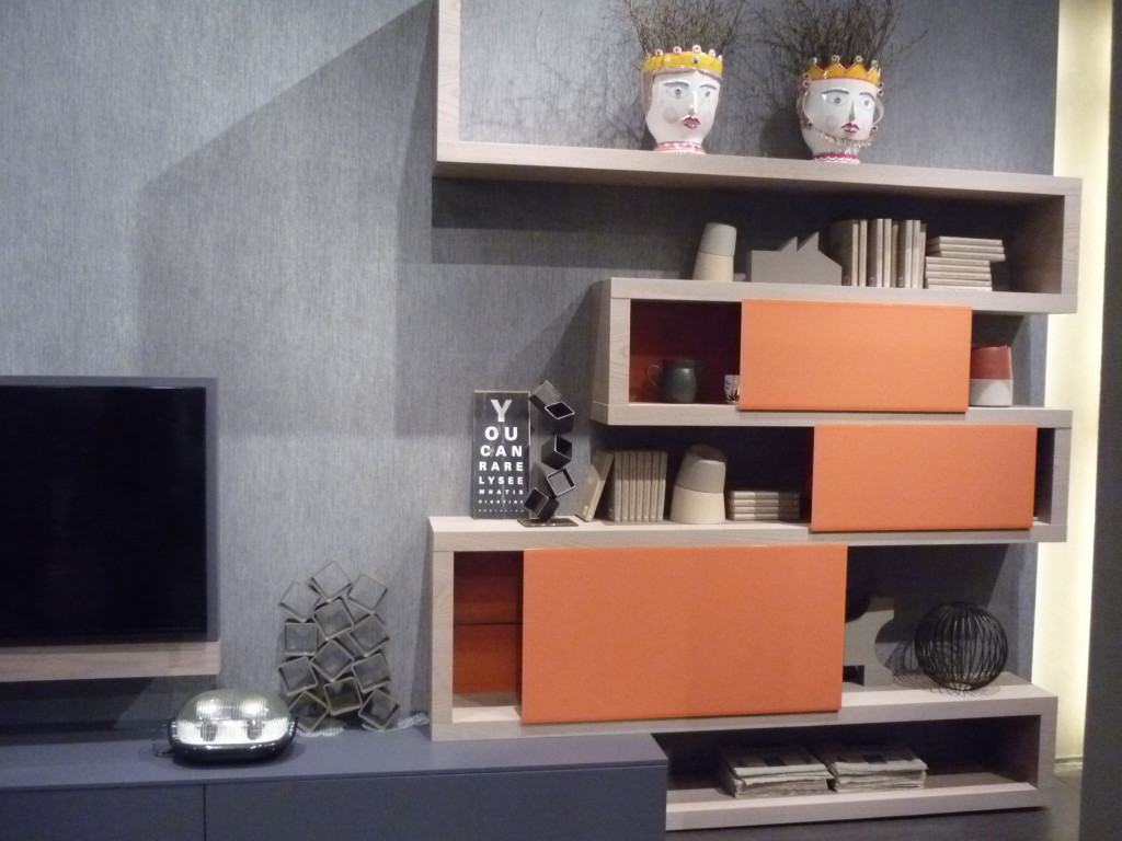 soggiorno moderno legno e laccato Fimar