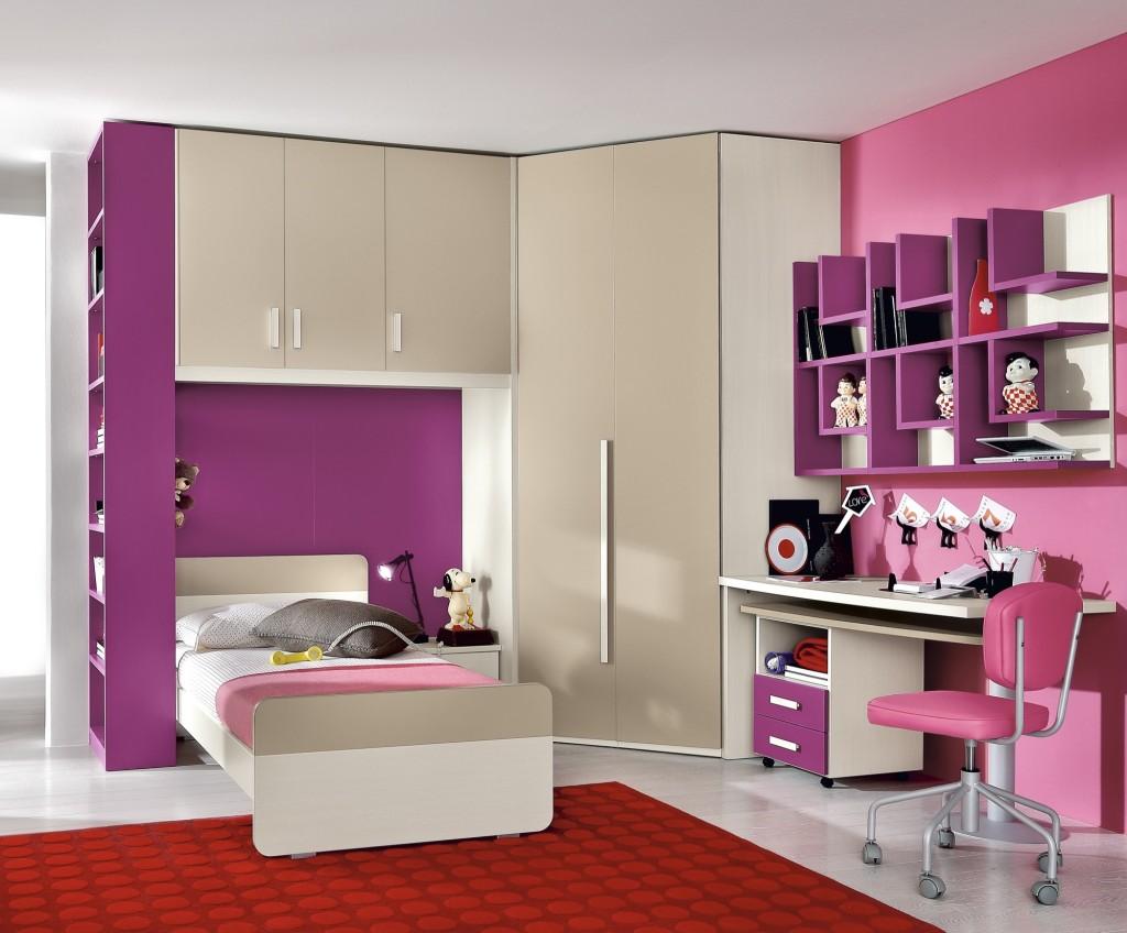 cameretta rosa bambina con cabina armadio
