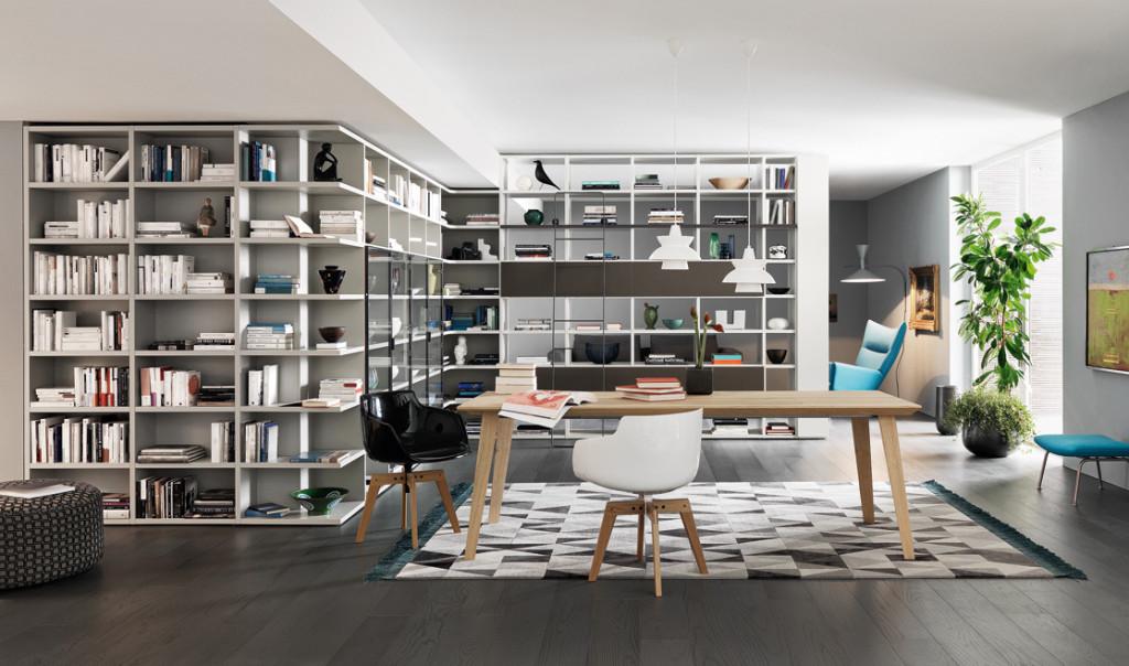 soggiorno moderno e libreria su misura non solo mobili