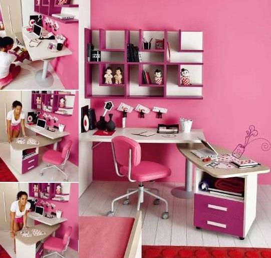 cameretta rosa per bambina con scrivania