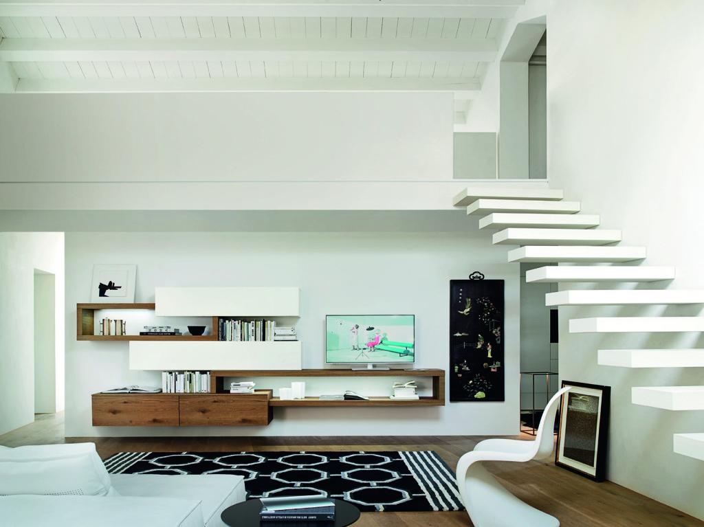 soggiorno moderno legno e laccato opaco