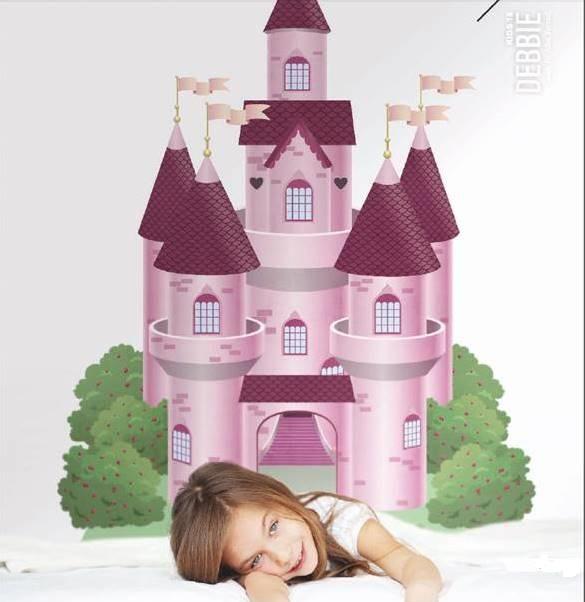 carta da parati soggetto castello rosa