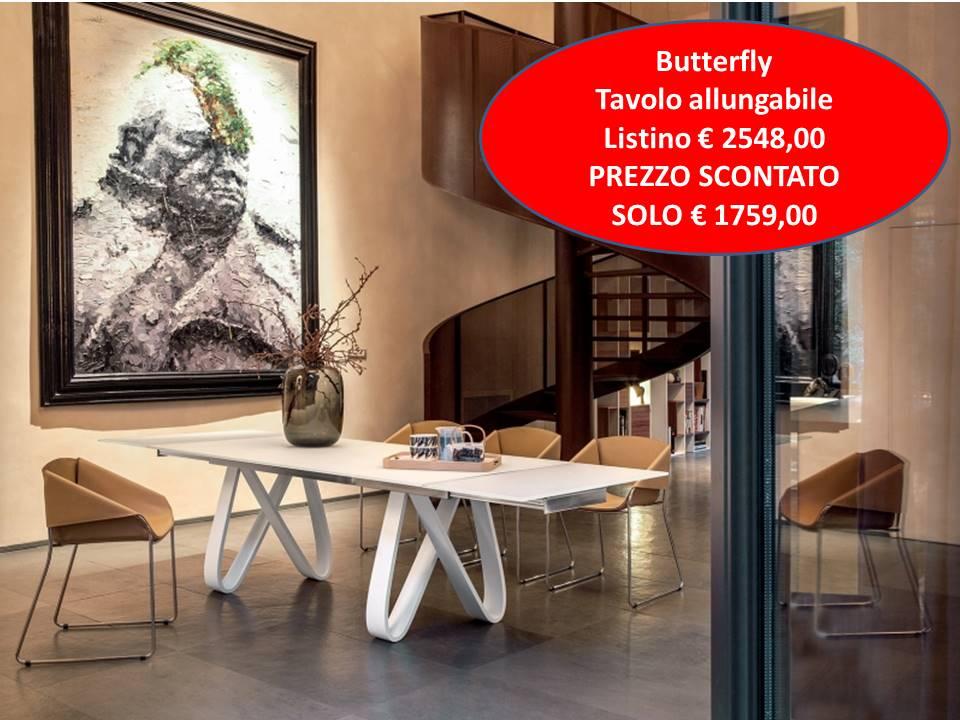 Butterfly Tonin Casa tavolo allungabile base legno curvato piano vetro o legno