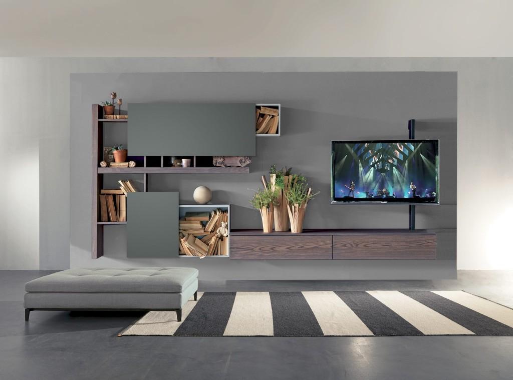 Soggiorno Fimar mobili laccato grigio pietra