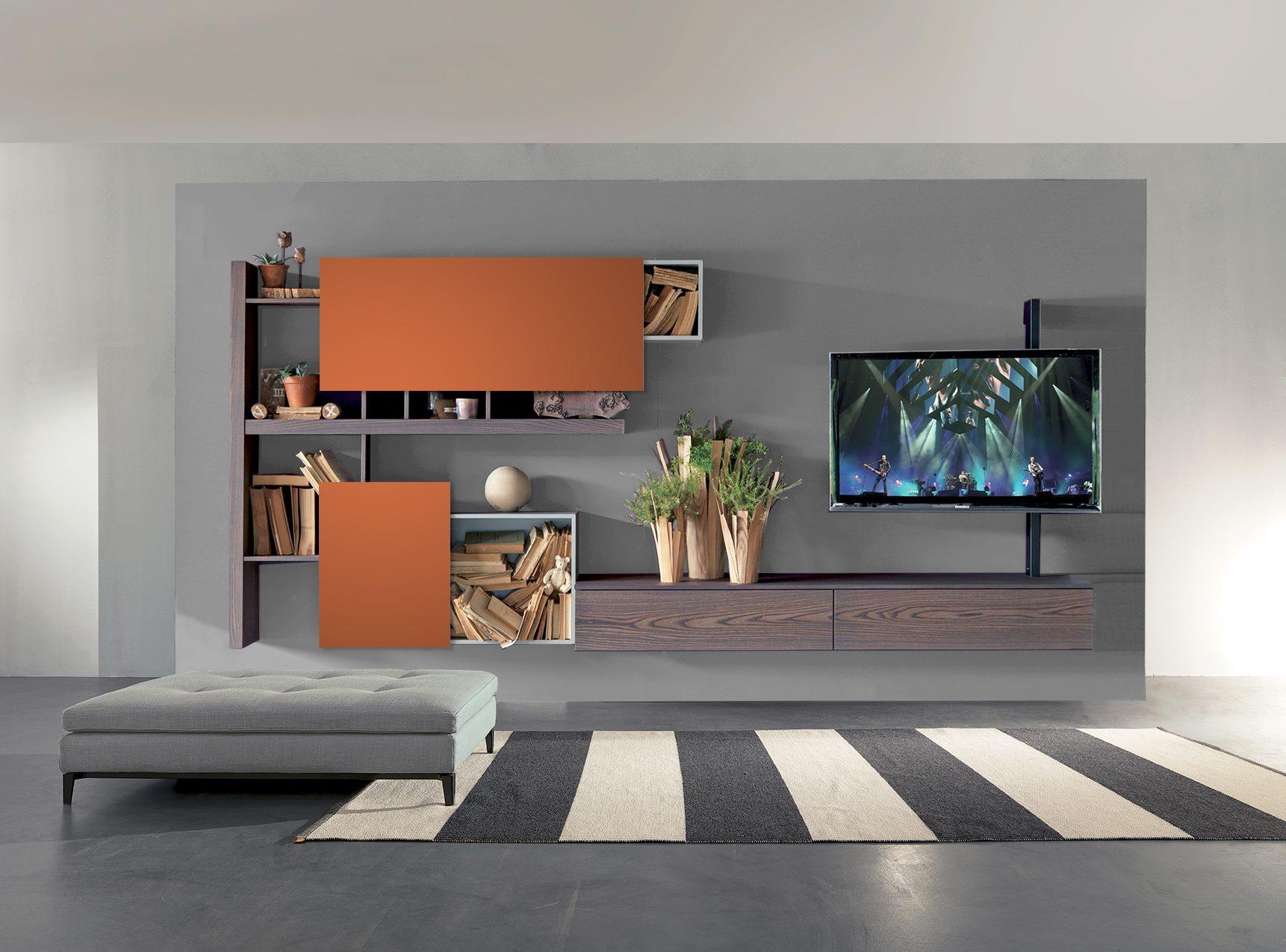 fimar soggiorno arancione e olmo - Mobili e arredi Lissone ...