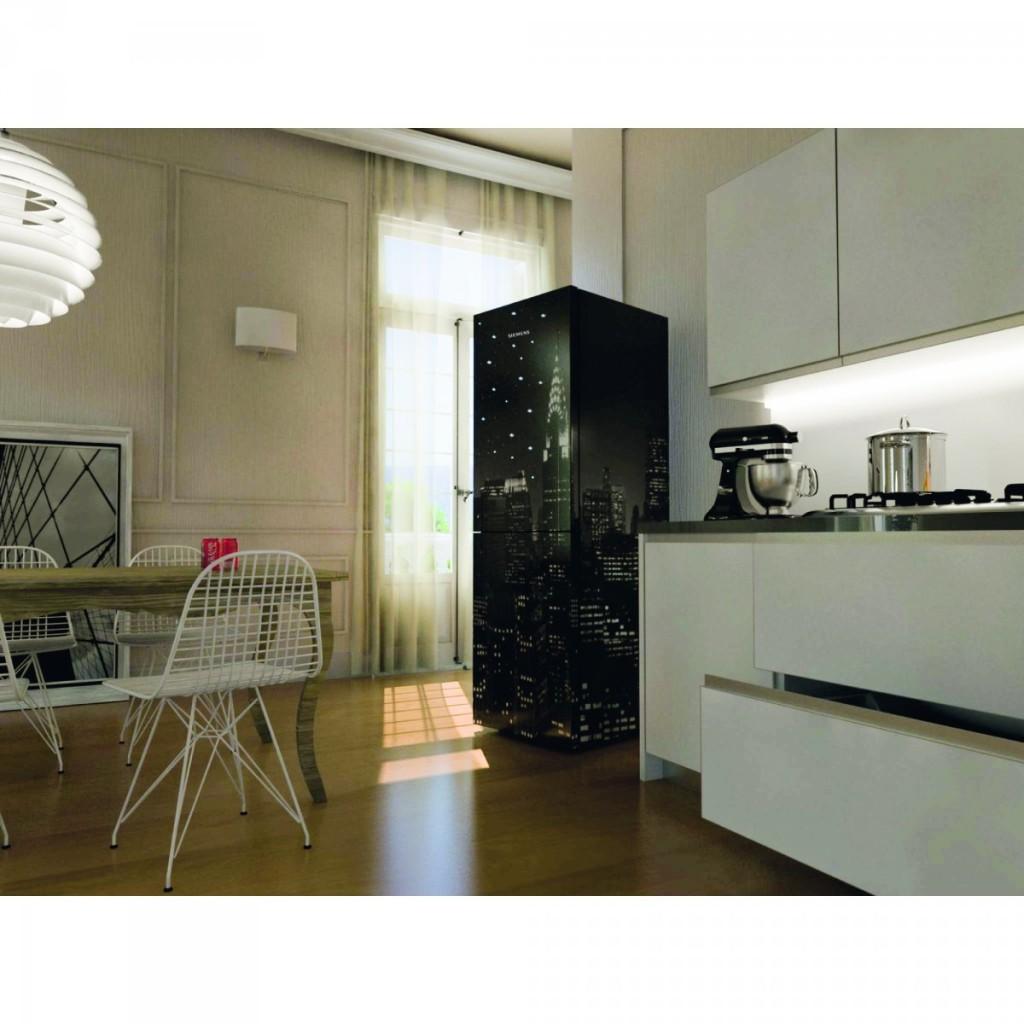 frigorifero smeg con stampa new york e cristalli swarovski