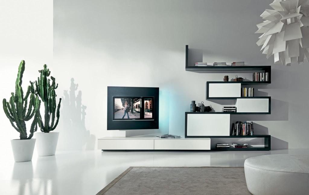 soggiorno moderno in legno Fimar con porta tv Rack evo