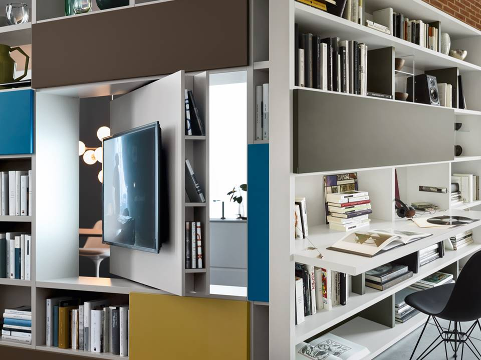 composizione soggiorno con porta tv e scrivania