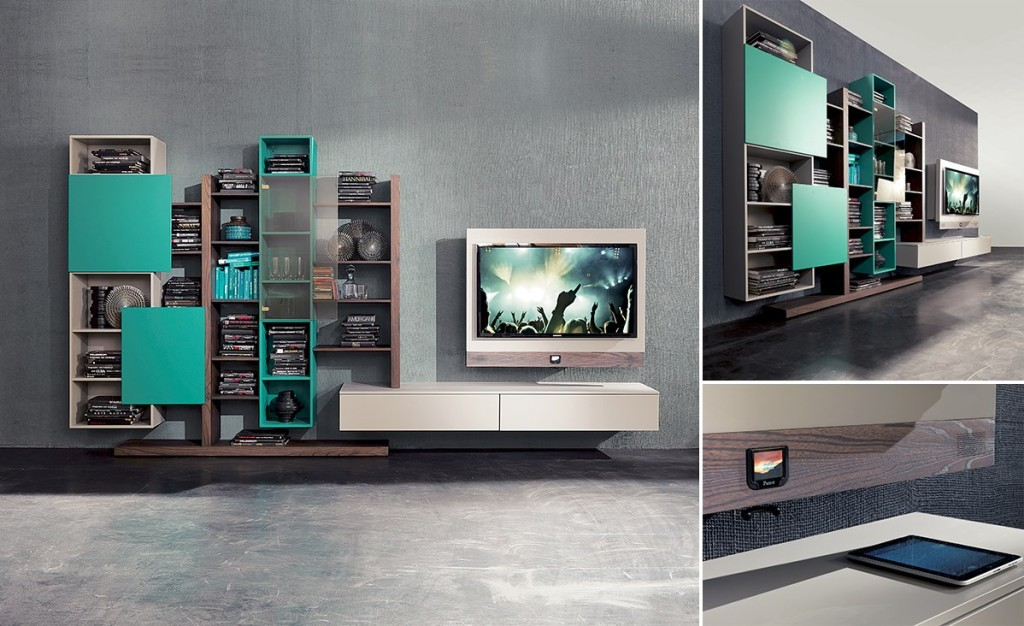 soggiorno sospeso colorato fimar con porta tv rack evo