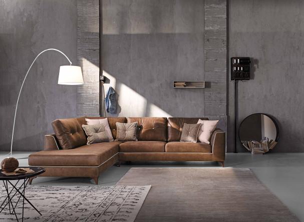 divano steven in pelle componibile con piedino