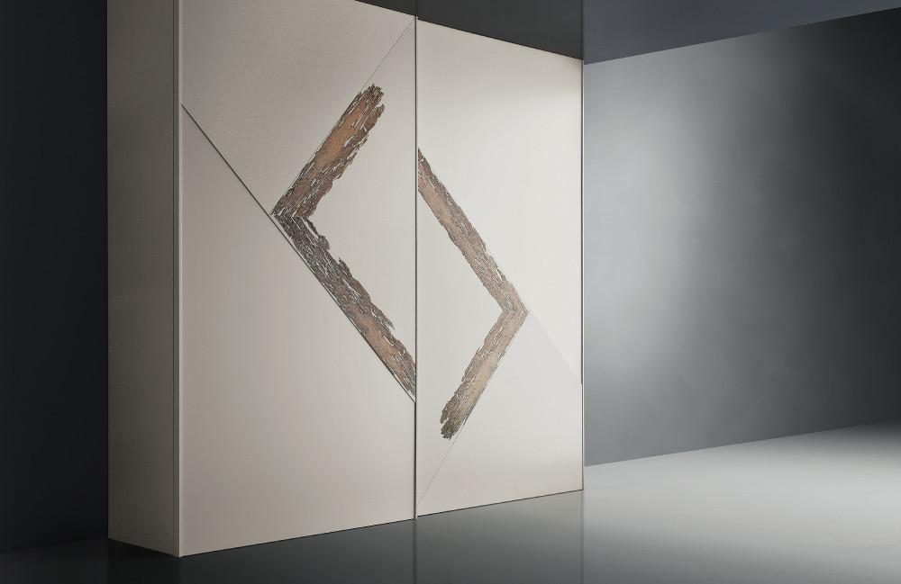 armadio componibile laccato con inserto in legno briccola di venezia