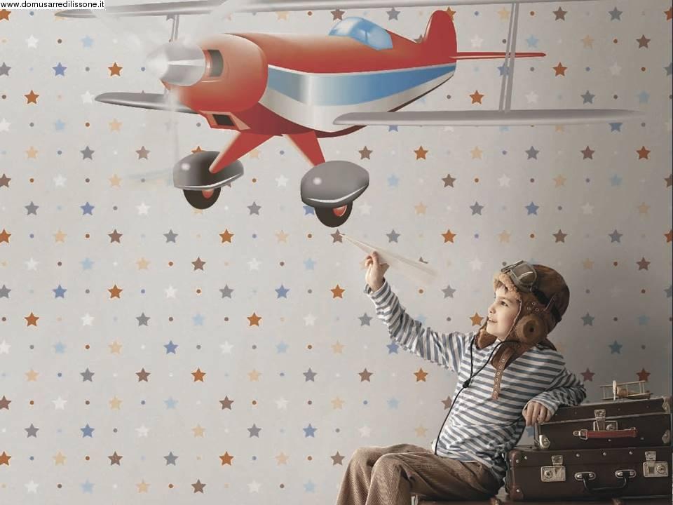 tappezzeria con aeroplano per cameretta dei ragazzi