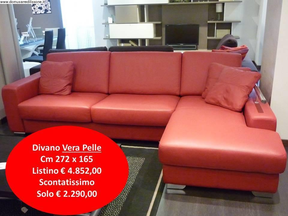 divano martin con chaise longue vera pelle rosso