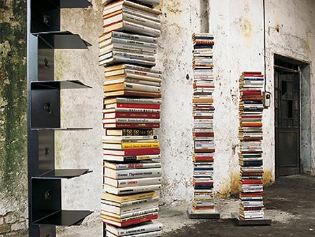 libreria verticale ptolomeo nera con base inox