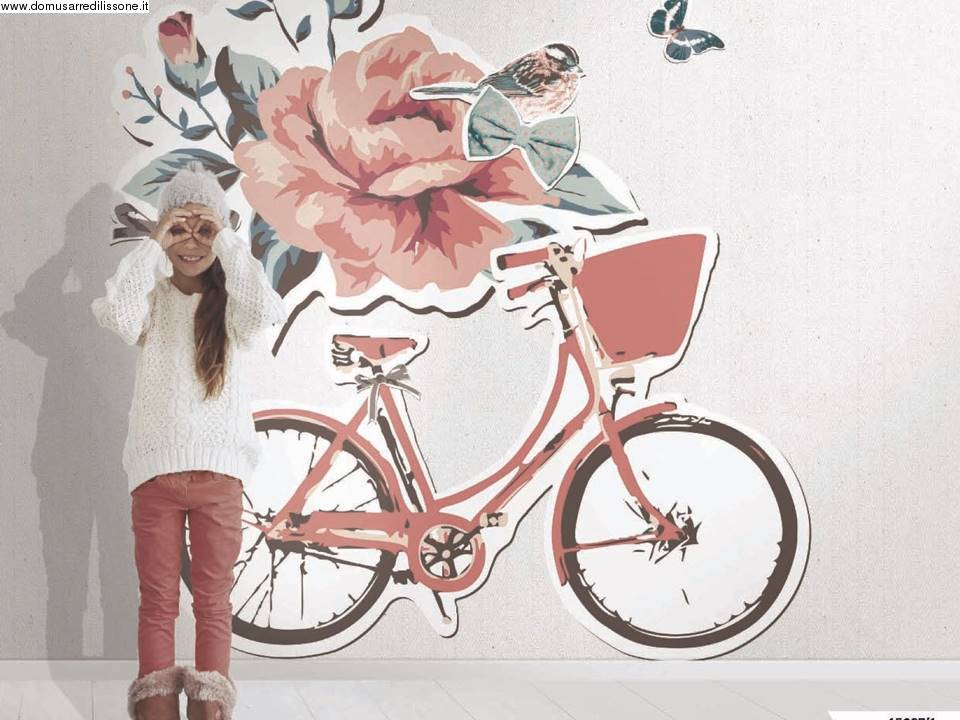 tappezzeria con bicicletta rosa per bambina
