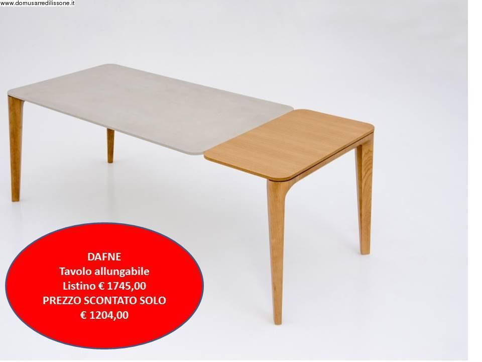 dafne tavolo da pranzo allungabile con piano in legno o argilla