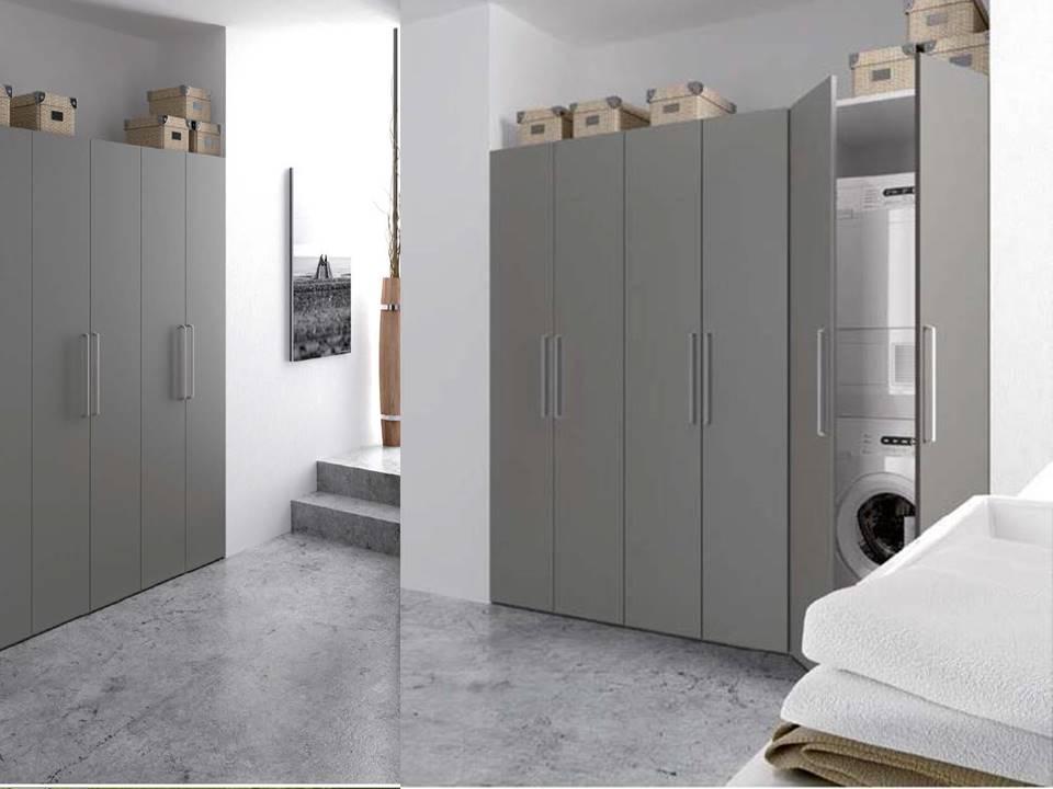 armadio grigio porta lavatrice