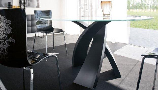 eliseo tavolo rotondo in vetro e base nera