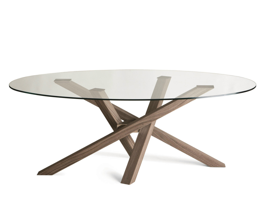 tavolo rotondo shangai riflessi con piano vetro e base in legno