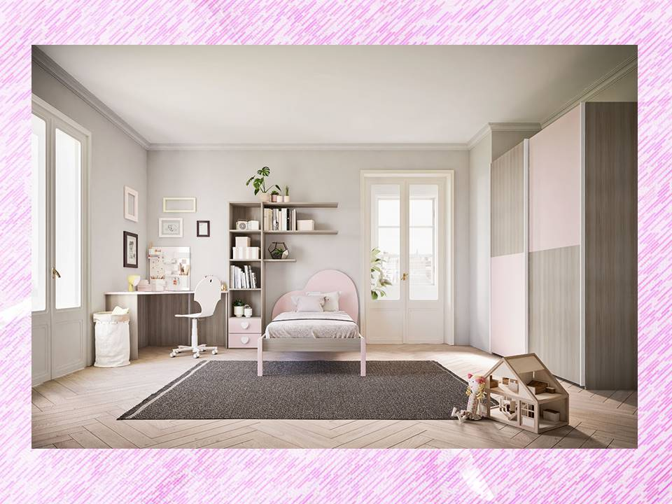 letto cuore rosa cipria