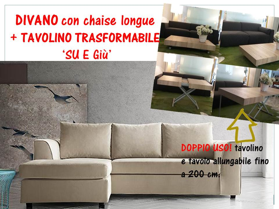 divano e tavolino trasformabile