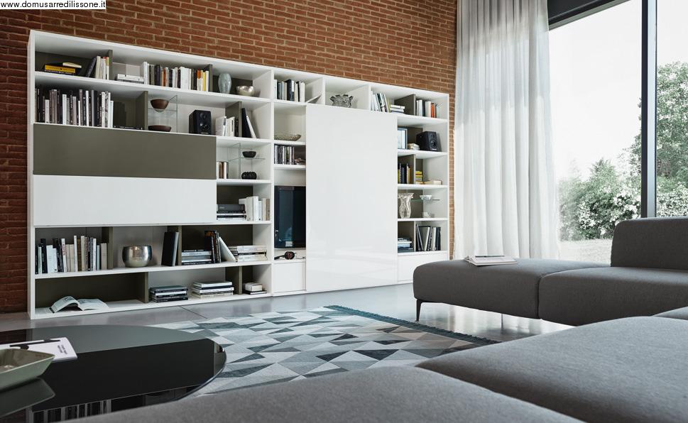 libreria moderna con anta scorrevole e scrittoio a ribalta