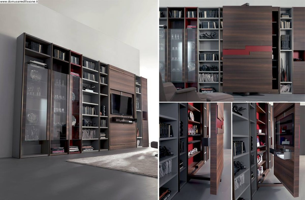 libreria moderna Fimar in legno con vetrina e porta tv