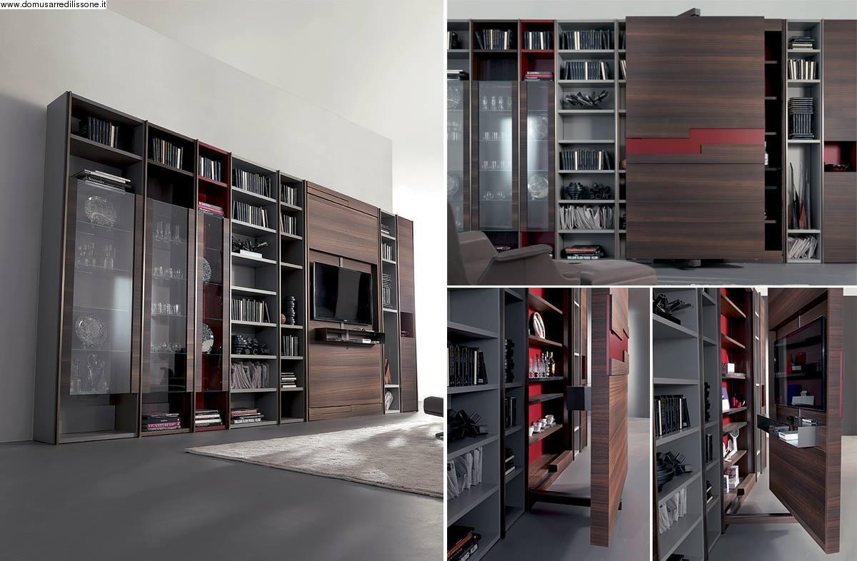 libreria moderna con vetrine e porta tv - Mobili e arredi Lissone ...