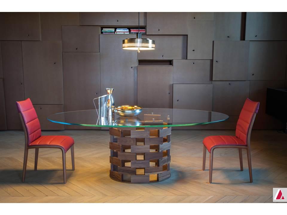 tavolo colosseo tonin casa moderno fisso base legno piano vetro
