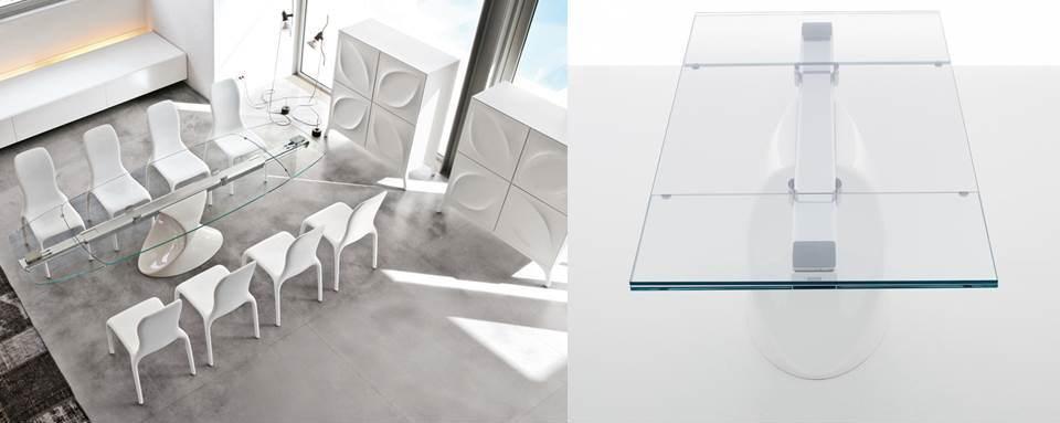 tavolo shangai tonin casa piano vetro allungabile
