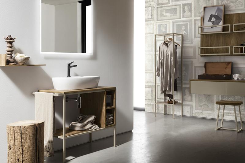 Composizione bagno Cerasa effetto legno, lavabo in ceramica, colonna appendiabiti, carta da parati Frame
