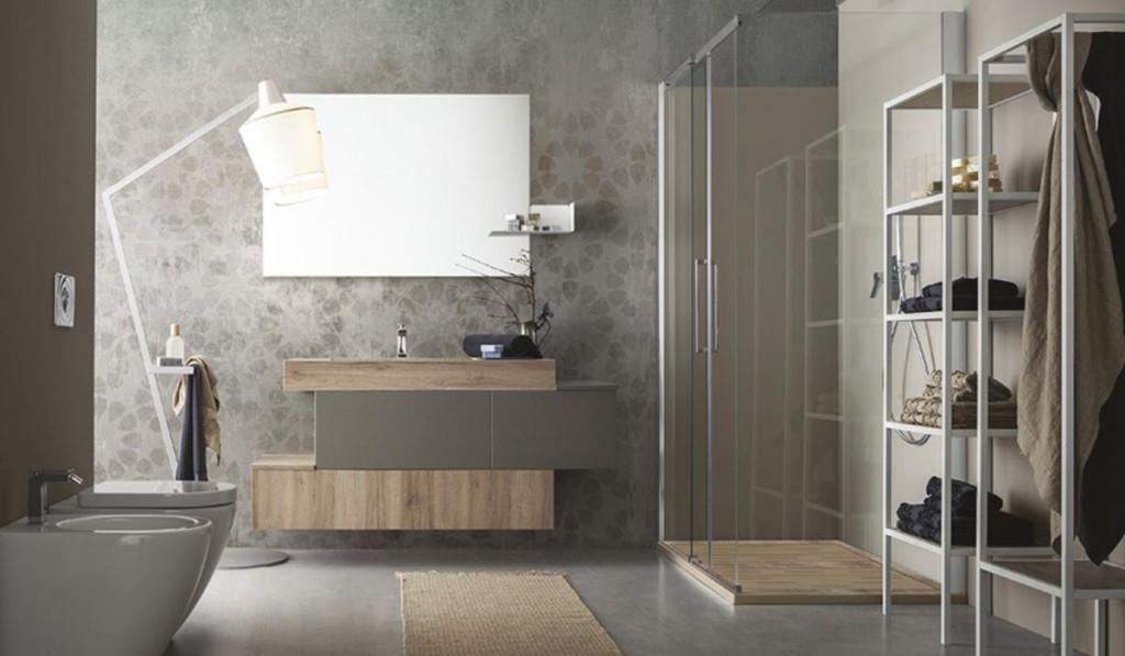 Composizione Cerasa in essenza e laccato grigio opaco, box doccia ...