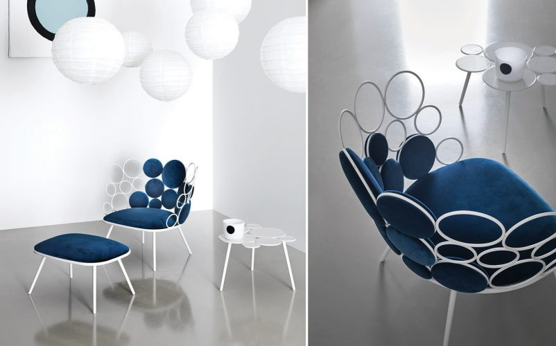 sedia e tavolino grace serralunga bianco e blu