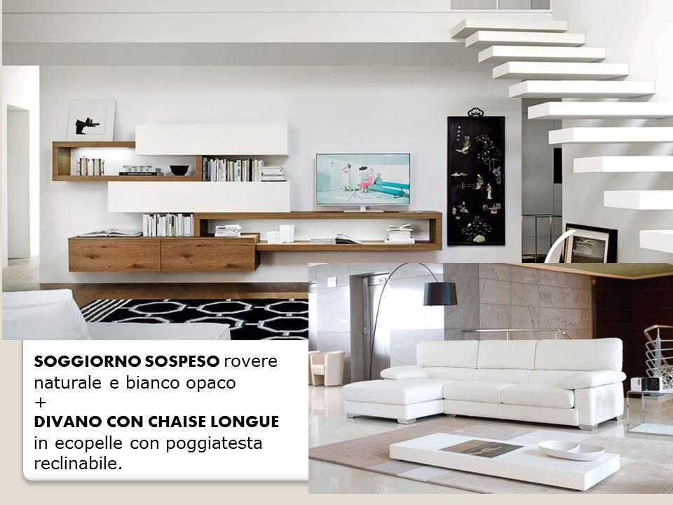 soggiorno sospeso bianco e legno e divano arredamento € 20.000