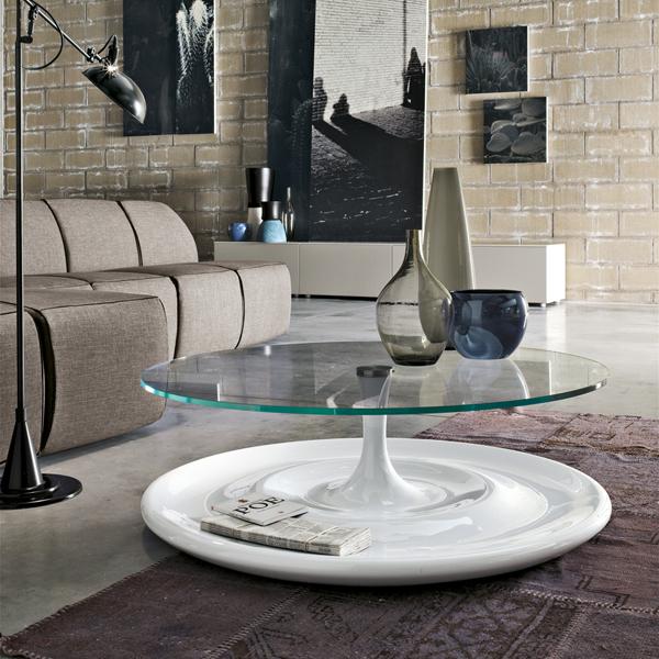 tavolino Splash di Tonin Casa con piano in vetro