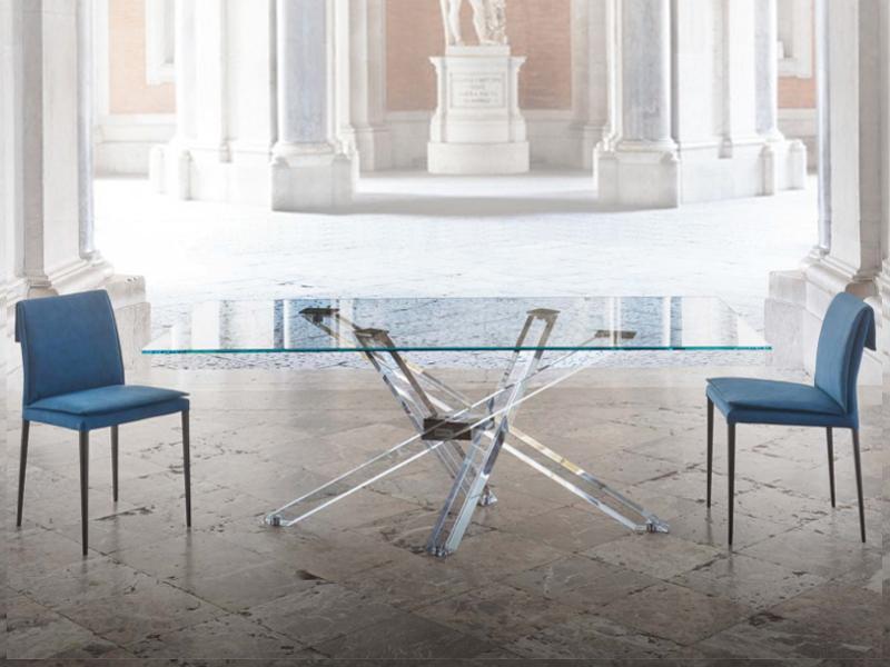 Tavoli In Cristallo Con Base In Legno.Tavolo Shangai Riflessi Piano In Cristallo E Base Metacrilato