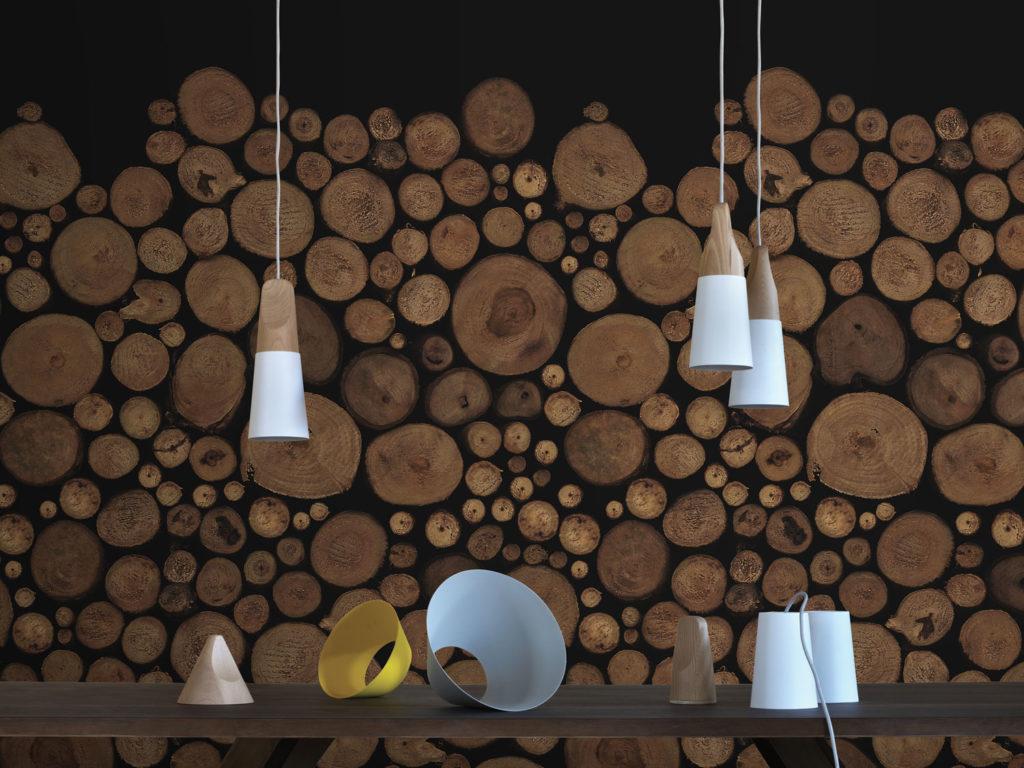 carta da parati con tronchi di legno