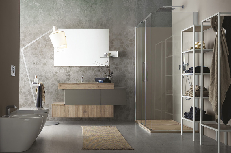 bagno cerasa con piani in legno naturale