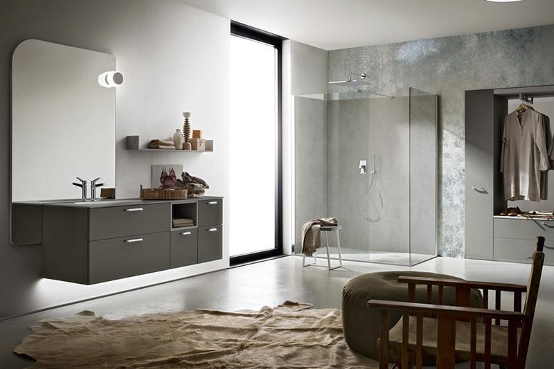 bagno cerasa componibile con piano vasca effetto cemento