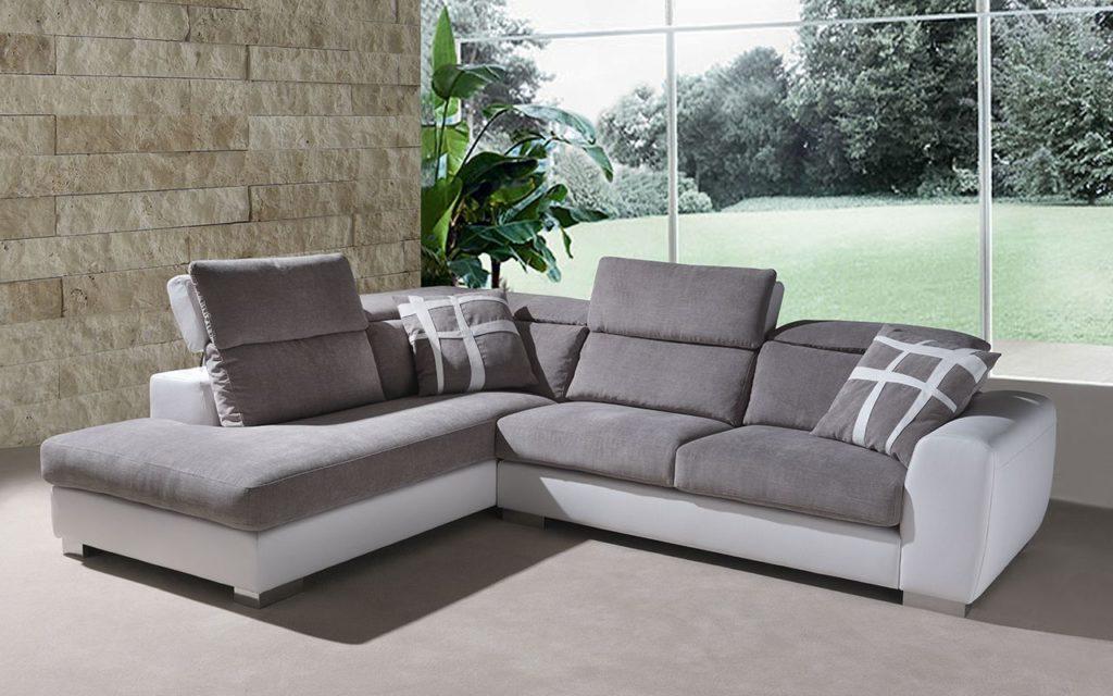 divano stella con chaise longue e poggiatesta reclinabile