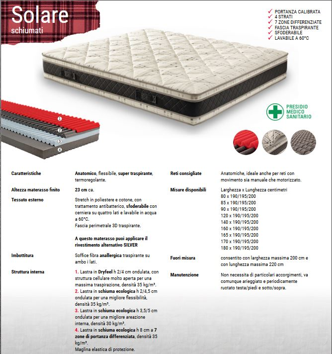 materasso solare termoregolante e autoadattante