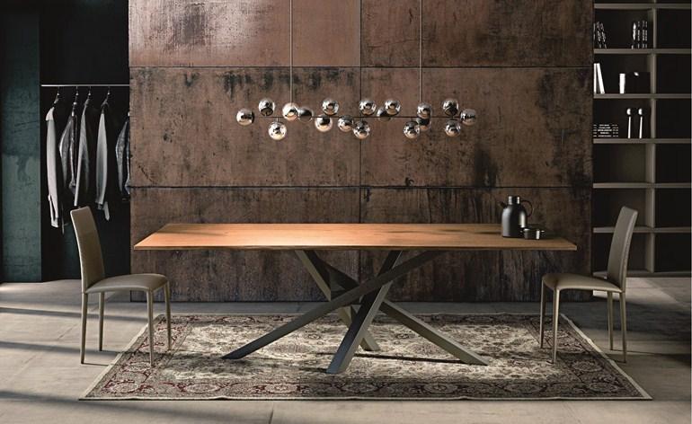 tavolo shangai riflessi con piano in rovere fisso o allungabile